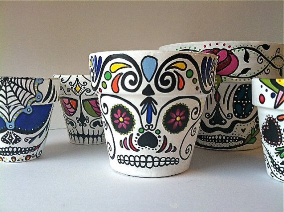 Day of the Dead sugar skull Flower Pot Planter by GingerPots, $16.00