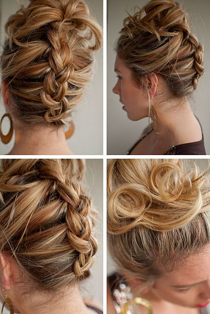 I think this is an upside down french braid with a messy bun on top. I wonder if I can french braid upside down? lol