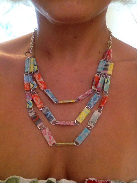 Tape wrapped paperclip multicolored necklace