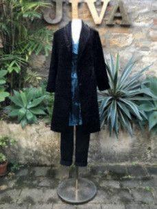 Jiva Collared Coat- Black Astrakhan – Jiva Clothing