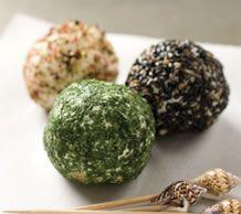 Mini cheese balls (Chèvre Mini Boules). Stick them on a toothpick or ...