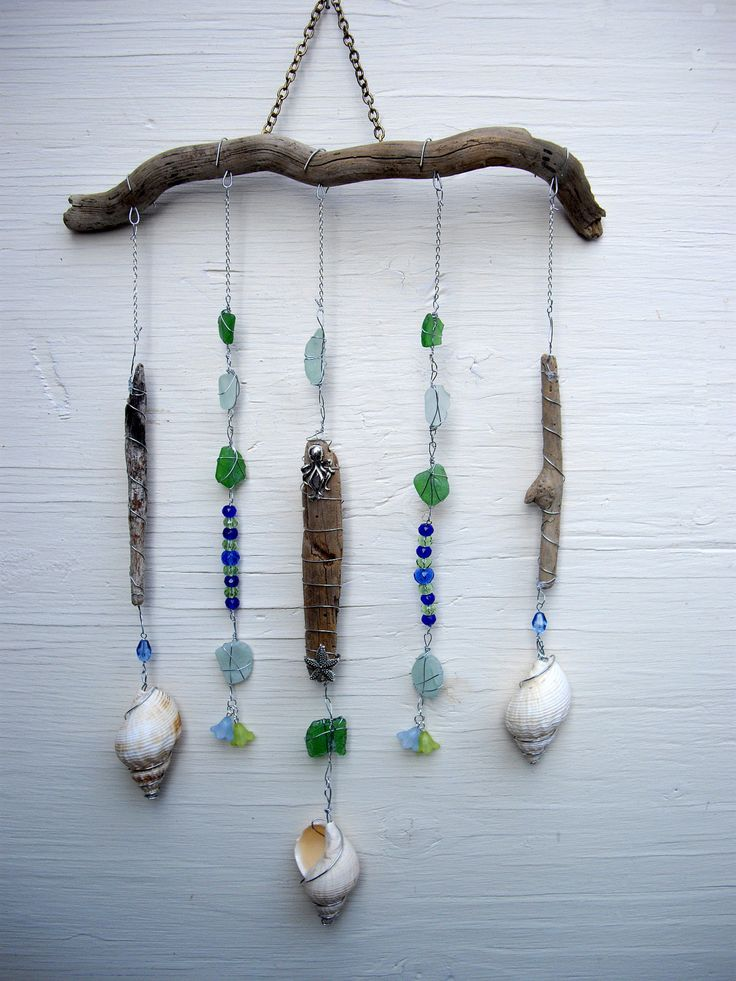 Driftwood Mobile Beach Charm Sea glass by SimplyCharmingukshop