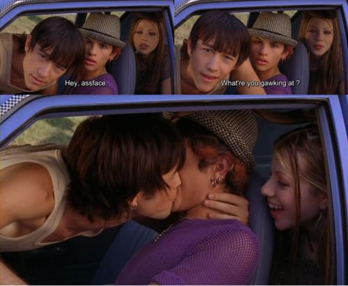 """Joseph Gordon-Levitt, Jeff Licon, and Michelle Trachtenberg portray the characters of Neil McCormick, Eric Preston, and Wendy respectively in the movie """"Mysterious Skin""""......."""