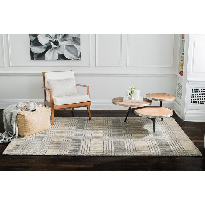 Tufted Hand Woven Wool Beige Gray Area Rug Reviews Allmodern Family Friendly Living Room Brown Living Room Furniture Arrangement