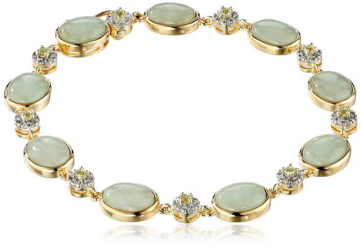 18k Yellow Gold Over Sterling Silver Green Jade and Peridot with Diamond Accent Link Bracelet: