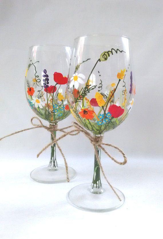 Copas de vino Copas de vino pintado a mano recuerdo por HiMaria