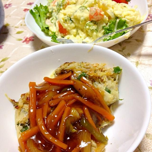 今日の夕食♡ - 6件のもぐもぐ - つくね野菜あんかけ&ポテトサラダ by happynm2a2