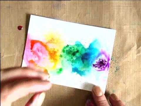 Brusho Technique for a cool rainbow card. Who doesn't want to know more about Brusho dyes one of the most under appreciated medium out there that can do brilliant things