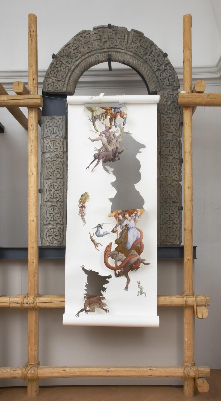 La cacciata, acquerello su carta,2011,cm 240x120
