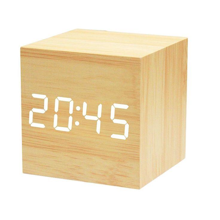 Amazon.com: Powstro clock Modern Wooden Cube Design Digital LED Desk Alarm Clock Voice Control Thermometer Timer Calendar: Home & Kitchen