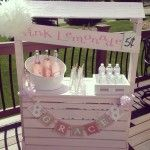 Pink Lemonade Stand for this Pink Birthday Party - too cute!: Lemonade Stands, Kids Parties, Pink Birthday Parties, Thinking Pink, Diy Backdrops Parties Ideas, Birthdays, 1St Birthday, Projects Nurseries, Pink Lemonade