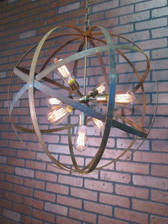 Rustic Chandelier Wine Barrel Ring Light Orb by VintageIronworks