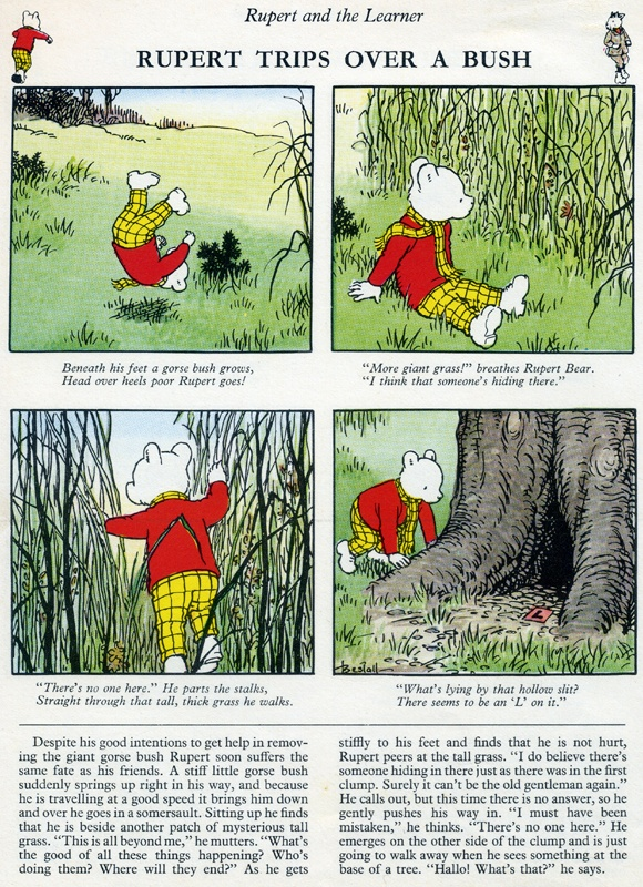 Alfred Bestall - page from Rupert the Bear annual 1972. The joy of a typical uncanny discovery in Nutfield forest.