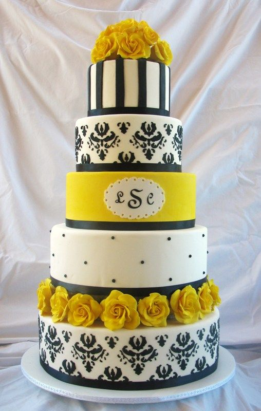 yellow black and white wedding cake 17 best images about damask yellow on yellow 27693