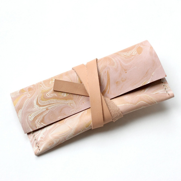 Marbled Leather Wrap Glasses Case / Wallet / Makeup Bag. $65.00, via Etsy.
