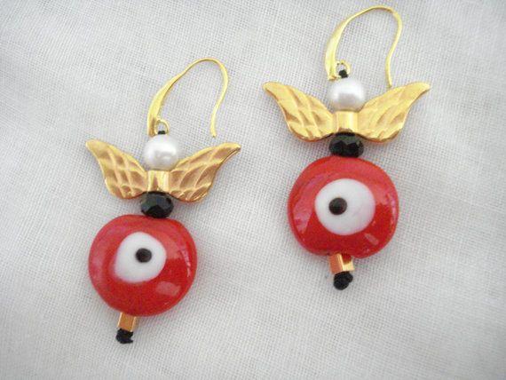 Red evil eye angel earrings Protection jewelry Angel by Poppyg