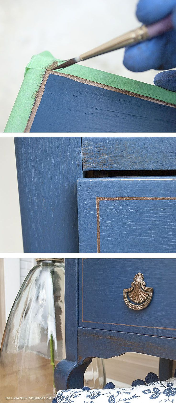 Painting Pin-Striping Bronze Details on Drawers
