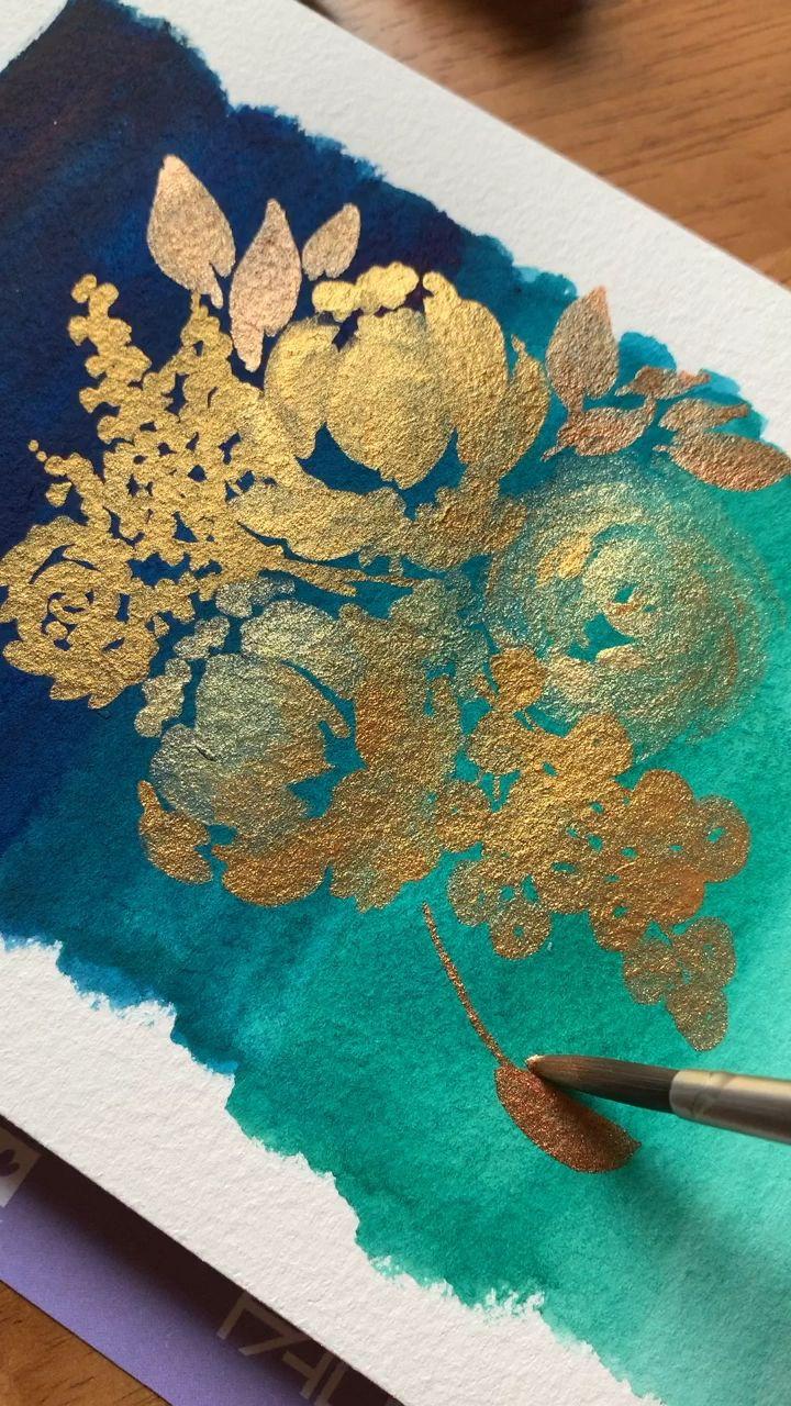 Watercolor leaves tutorial