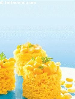 Instant corn dhokla, a rare combo of sweet corn and rawa come together in this sensational dish! it is really amazing how the fresh flavour of the crushed sweet corn kernels enhances the taste of the otherwise bland rawa. A unique set of ingredients blended with curds, these dhoklas are sure to win you many praises. And what's more, it can be whipped up in no time at all! fruit salt works its magic by helping the dhoklas to rise without any fermentation. Make these in small moulds as…