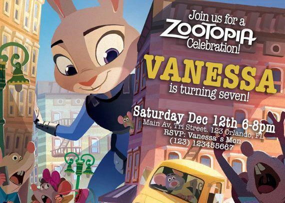 Invitaciòn Disney Zootropolis por RaizaysuGaleria en Etsy