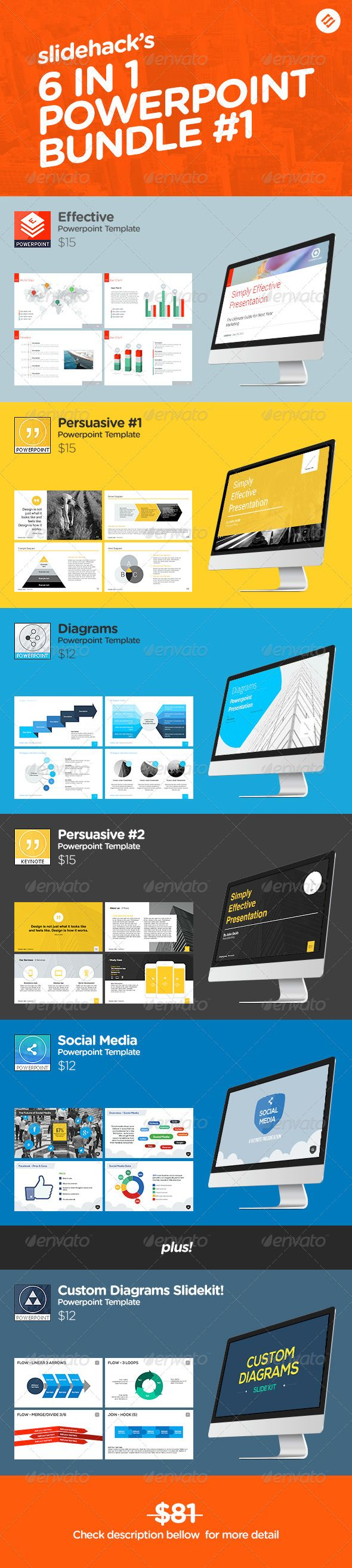 Slidehack's 6 in 1 Powerpoint Bundle - Powerpoint Templates Presentation Templates