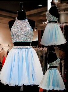 Two Piece A-line Halter Knee-Length Organza Beaded Short Light Blue Homecoming…