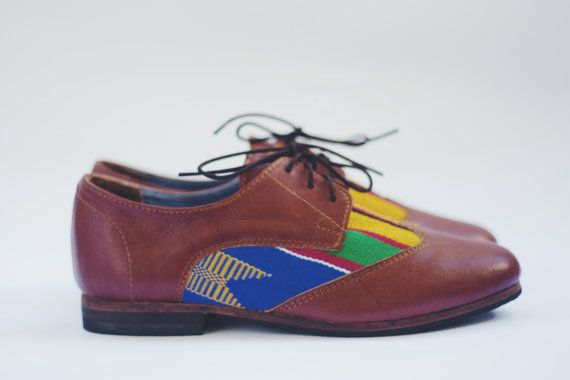 Women's leather and kente cloth brogues Size UK 4.5  US 7 by Kushn, $98.00
