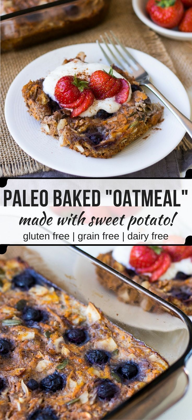"This easy, healthy paleo baked oatmeal or ""noatmeal"" is a grain free twist on breakfast using sweet potato, flax, coconut and eggs. (gluten free, dairy free)"