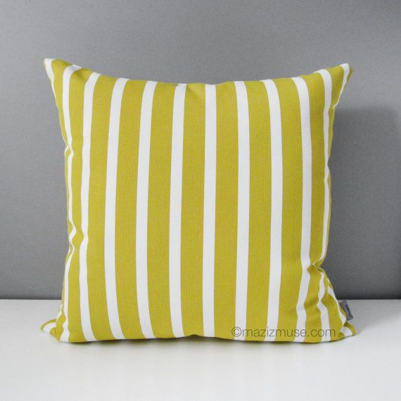 Citron Yellow U0026 White Striped Outdoor Pillow Cover, Decorative Stripes,  Modern Acid Yellow Sunbrella Pillow Cushion Cover, Spicy Mustard