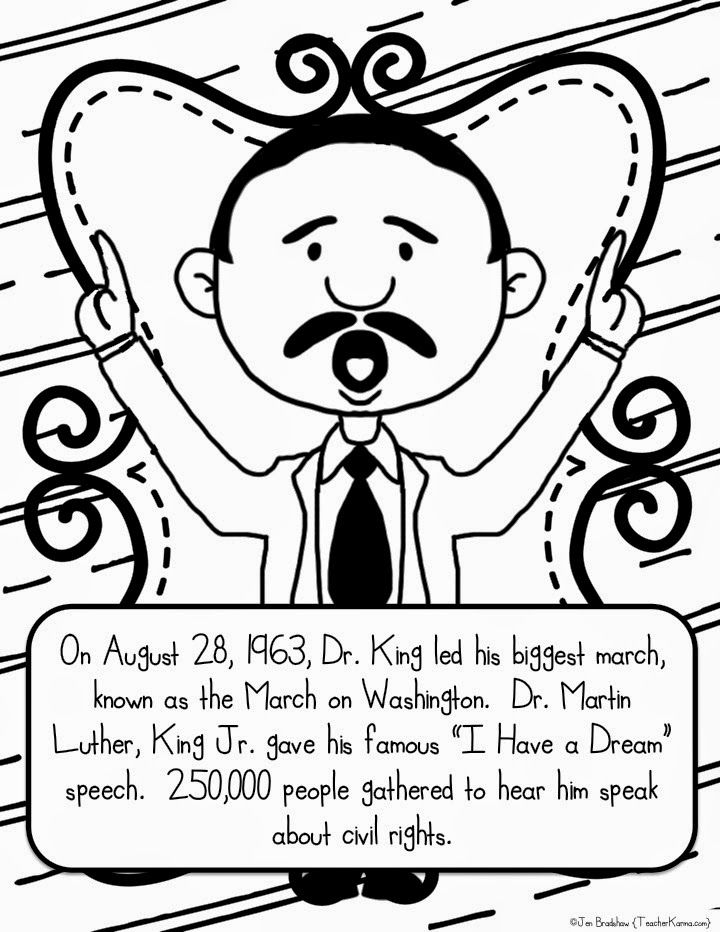 Martin Luther King, Jr. FREE coloring pages and worksheets. TeacherKarma.com