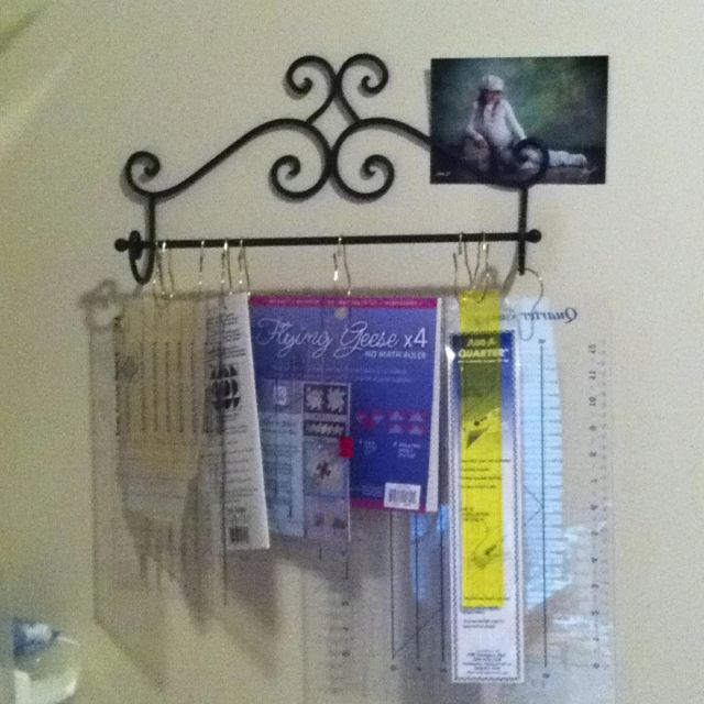 Quilting Ruler Storage Ideas : Inexpensive ruler solution - Hang your rulers on a towel rack with shower curtain hooks. They ...
