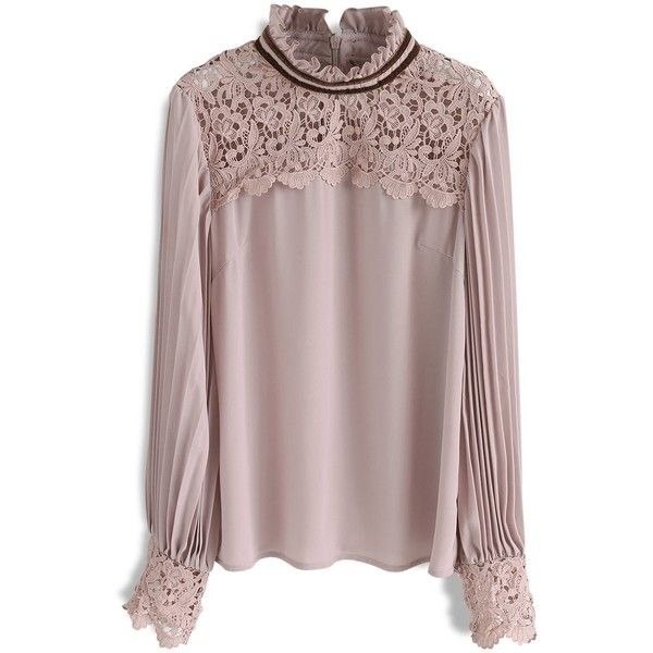 Chicwish Royal Elegance  Crochet Chiffon Smock Top in Pink ($45) ❤ liked on Polyvore featuring tops, pink, smock top, pink crochet top, pink top, pink chiffon top and macrame top