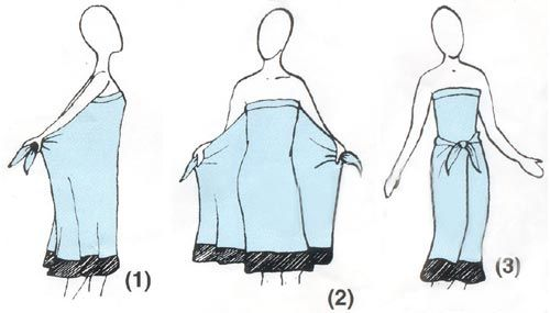 Looked everywhere and finally found the different ways to tie a sarong. Needed to learn this for my swimsuit cover up.