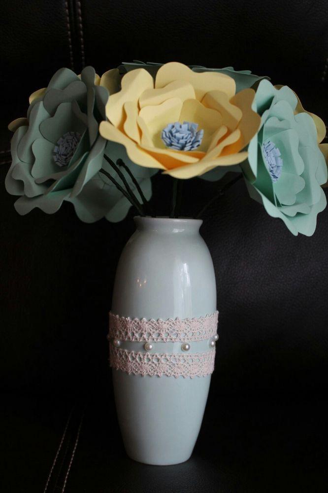 Paper flowers roses pastel bouquet home decoration arrangement  #paperflowers #flowers #decor #arrangements #pastel #roses #bouquet #home #ebay #ebaystore #ebayseller #handmade