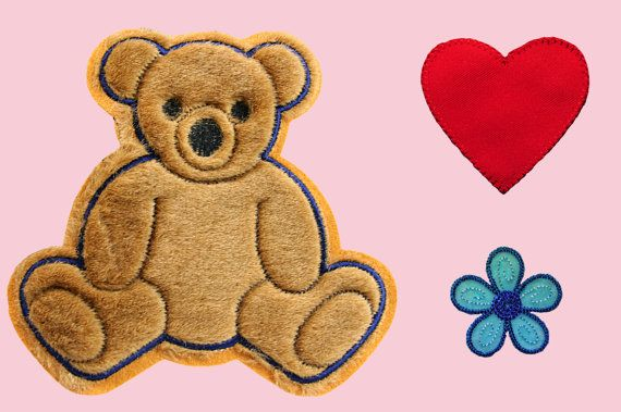 Brown Teddy Bear Red Heart Blue Flower Kaylee Firefly Costume Embroidered Sew On…