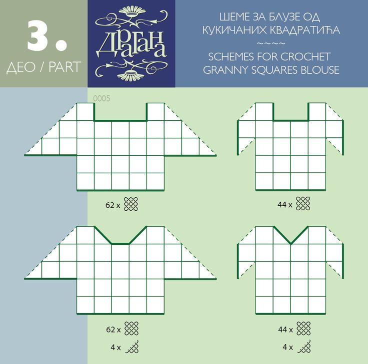 Positioning diagram to make a cochet motif top --- Todo para Crear ... : todo par crear con cuadrados en crochet moldes 1y 2 ----#6