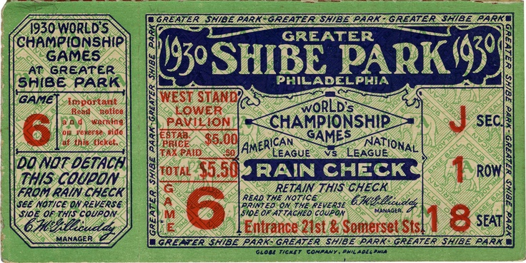 Baseball: 1930 World Series Game Six Ticket Stub.