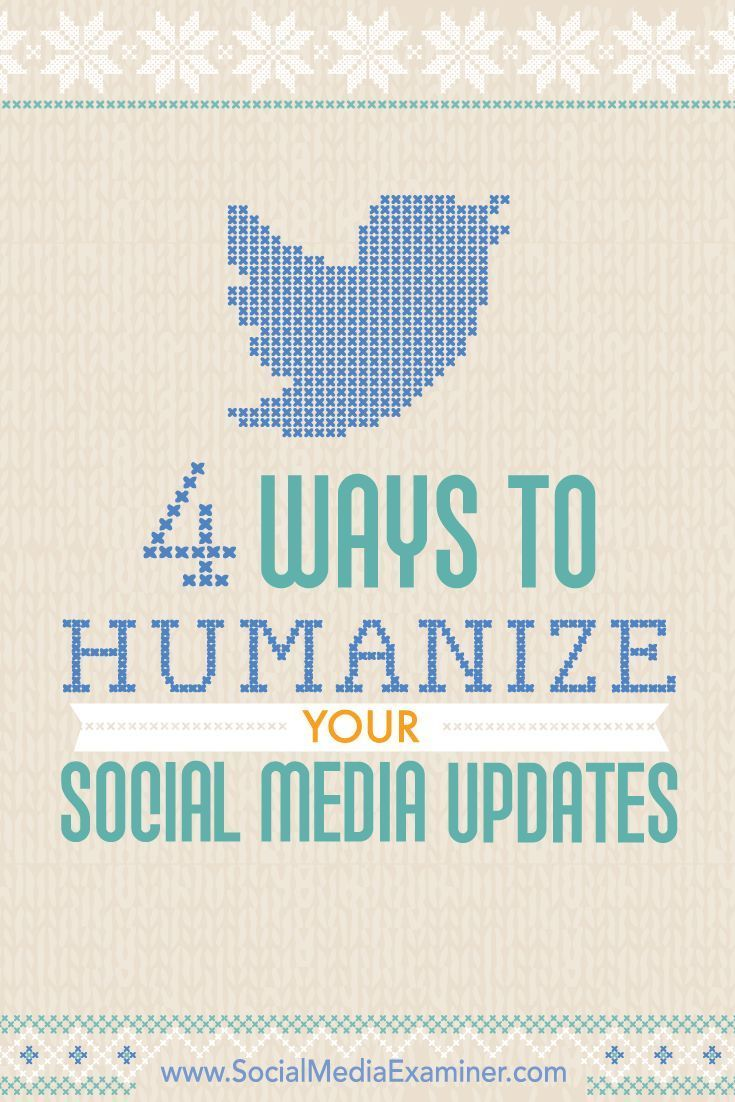 Do you want to create better engagement with your fans and followers?  Engaging on social media with authenticity helps you turn online connections into customers who feel like they know you.  In this article, youll discover four ways to humanize your en