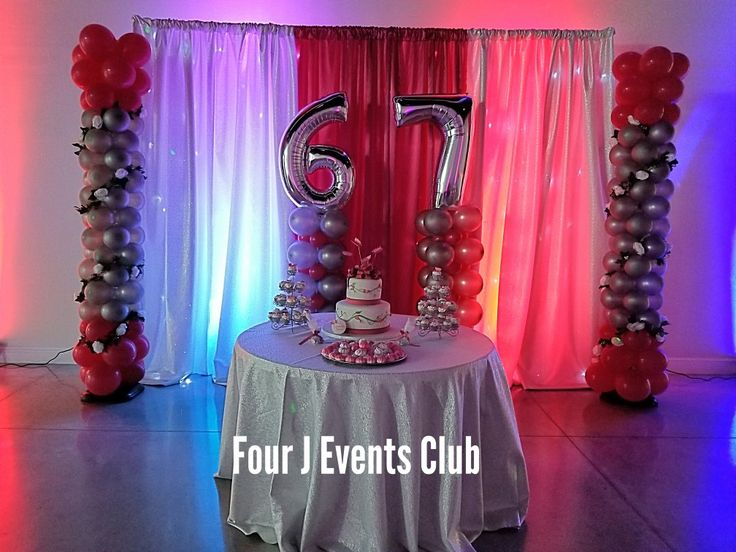 67 Happy Birthday. Perfect indoor party place for adults parties. Have fun with you families and friends.Lighting ,music, 4 hours , decorations and more... www.fourjeventsclub.com #fourjeventsclub #fourjparty #decoration #balloons #miami #broward #Tent #Chairs
