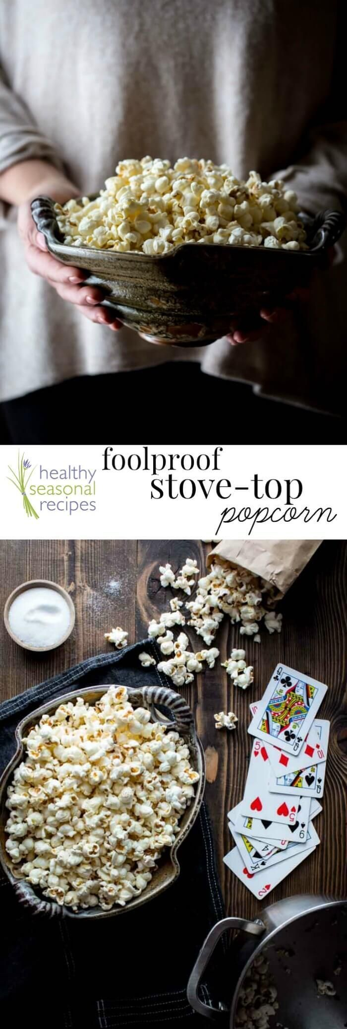 Here is the best way to make foolproof popcorn, no burning, no missed kernels! And this is only 54 calories per cup! Healthy Seasonal Recipes @healthyseasonal