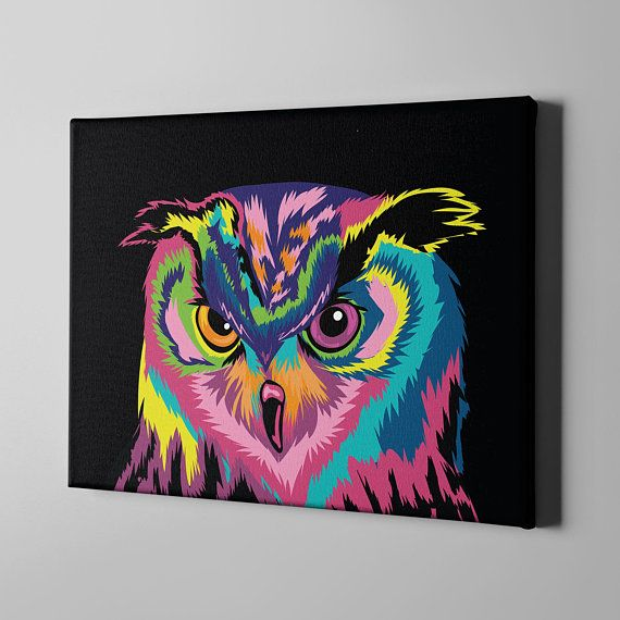Colorful Owl Canvas Art Print Wall Nursery Decor Large Etsy Owl Canvas Art Colorful Owls Canvas Art Prints
