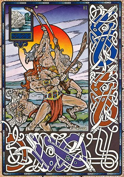 In 1272 BC the Tuatha De Dannan and Fir Bolg (fairy folk) fought in a hurling match on the sacred field of Magh Nia in County Mayo before the First Battle of Moytura – picture by Jim Fitzpatrick from the Book of Conquests…