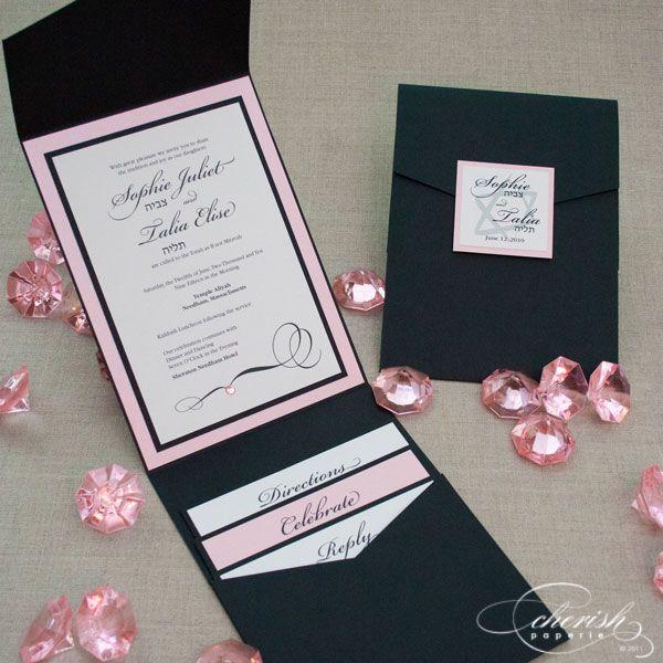 pink and black bat mitzvah invitation, sweet 16 invitation