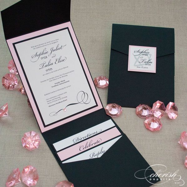 pink and black bat mitzvah invitation, sweet 16 invitation