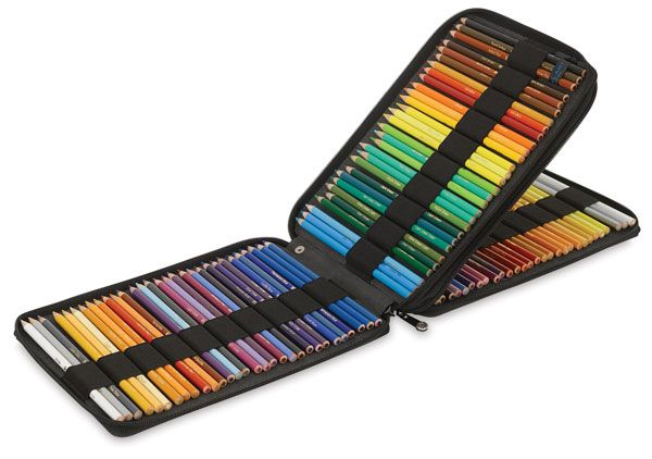 Pencil Case for 120 Pencils - I'm very happy with this case - got it on sale for less than $20! :)  It will hold colored pencils of standard size (Prismacolor, Blick etc.) easily.  Some brands, eg. Derwent's Artist, Coloursoft, etc. will fit, but not the full count. This is a sturdy, well made case.  Don't bother with leather unless your pencils are worth a whole heck of a lot of dough! The canvas is fine - and, if you like, you could probably decorate/label it with fabric paints.