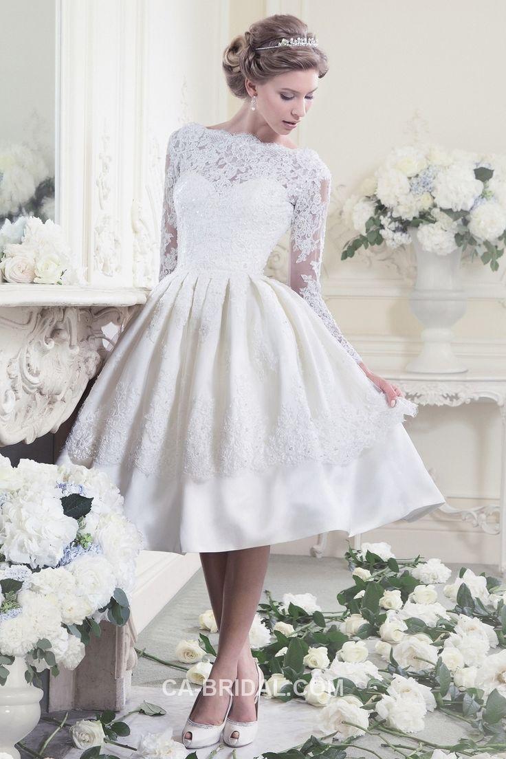 $219.99 2017 Dainty Bateau A-line Long Sleeves Beading Knee-length Applique Elastic Woven Satin Wedding Dress Online UK UKWD1008 - ca-bridals.com