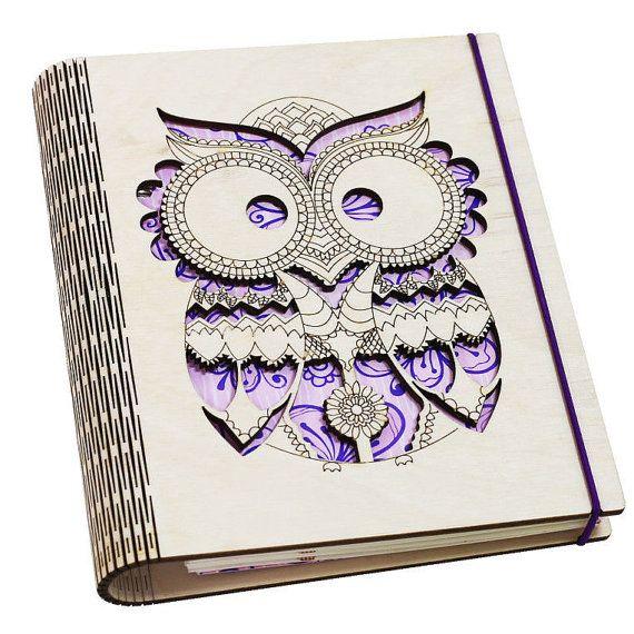 Cuaderno de madera cubierta de buho personalizada A5 había