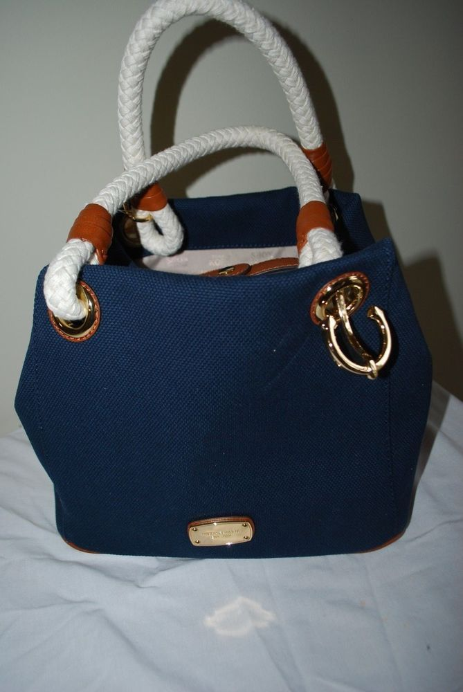 e1a65a153746d3 ... MICHAEL KORS NAVY BLUE CANVAS MARINA GRAB BAG TOTE NAUTICAL ROPE  MEDIUMS SZ NWT Buy it ...