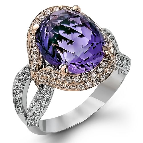 Diamond Ring, .54 Carat Diamonds 6.53 Carat Amethyst on 14K Rose & White Gold
