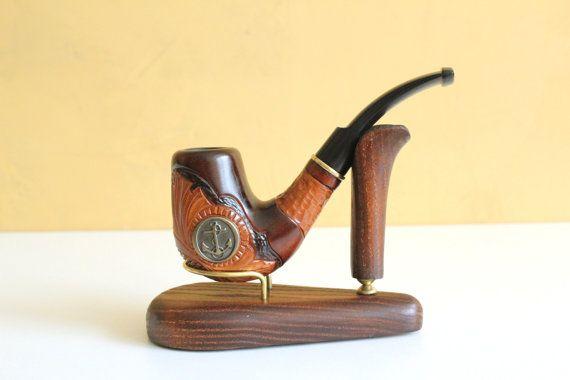 """Pipa tallada a mano """"ancla, pipas de tabaco, bowl, tazón de fuente de madera pipas,"""